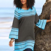 Denim 24/7 Plus Size Taylor Border Design Fairisle Tunic By