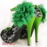 Green Black Lace Peeptoe Flowers Platform Shoes