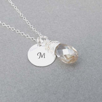 Swarovski crystal necklace- sterling silver chain- Bridesmaid,bestfriend,Wife,Girlfriend, Mothers Gift-simple,delicate,everyday wear