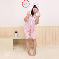 Pink Cute Cat Half Sleeves Cotton Kigurumi Costume Animal Pajamas [C20120740] - £29.31 : Zentai, Sexy Lingerie, Zentai Suit, Chemise