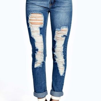 Grace Rolled Hem Distressed Ripped Jeans