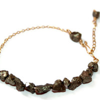 GOLD GLIMMER BRACELET / wire-wrapped bracelet ft. pyrite gold chunks, handmade clasp, 14k gold wire & chain