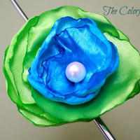 Aqua Mint Ice Cream Hair Accessory - green satin and aqua satin with a pink pearl on the center.Baby headband. Embellisment.Adult Accessory.