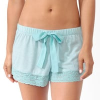 Micro-Stripe Lace Trim PJ Shorts