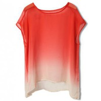 Manual Hang Dyeing White-orange Chiffon Shirt - ROMWE