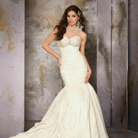 [$296.96] Sweetheart Ruched Satin Mermaid 2012 Wedding Dresses