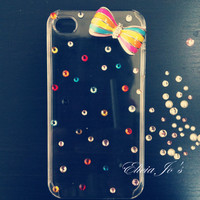 iPhone 4 case, iPhone 4s case, case for iPhone 4 - Colorful Bow Tie