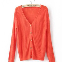 Red V Neck Slim Sweater$43.00