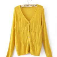 Yellow V Neck Slim Sweater$43.00