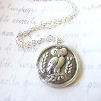 Owl wax seal necklace pendant jewelry Greek design created with recycled fine silver