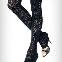 Heart Pointelle Lace Leg Warmers