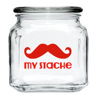 My Stache Jar - Mustache Glass Jar - Red - 32 oz. Money Jar