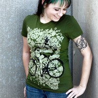 Pin Up Girl with Gas Mask on Bike Tshirt  by darkcycleclothing