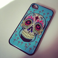 Black case Sugar skull Blue Multi Cross dia de los muertos Iphone case cover skin for Iphone 4 and 4s