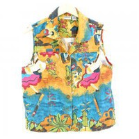 Chicos Bright Colorful Mexican Fiesta Wedding Linen Cotton Vest Size 2 (Women&#x27;s Size Medium/Large)