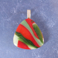 Red and Green Pendant, Christmas Jewelry, Handmade Jewelry on Etsy - Holly - 4655 -4