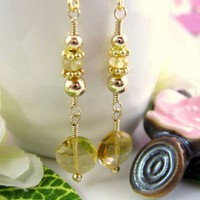 Citrine coin romantic earrings