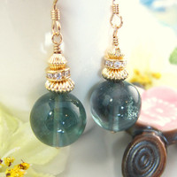 Blue flourite round drop cubic zirconia gold earrings