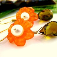 Orange cherry blossom smokey quartz earrings