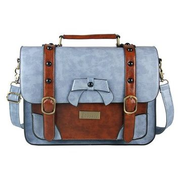 Ecosusi Vintage Leather Messenger Bag Women Crossbody Satchel Bag Briefcase (Light blue)