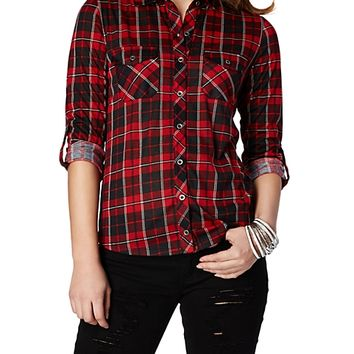 Red & Black Rolled Sleeve Plaid Shirt