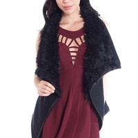 Faux Fur Collar Open Front Fleece Vest - Black