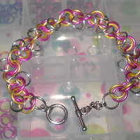Chainmaille Bracelet Yellow Pink Si.. on Luulla