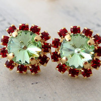 SALE Mint and Red crystal studs, Swarovski crystal stud earrings, mint green red ruby stud earrings, Bridesmaids gift, gold studs, gift for