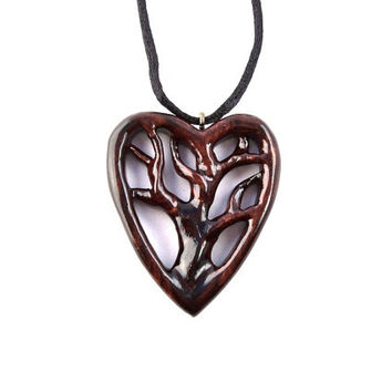 Wood Tree of Life Necklace, Wooden Tree of Life Pendant, Wooden Heart Pendant, Wood Heart Necklace, 5th Anniversary Gift, Wood Jewelry