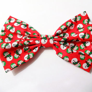 Christmas Hair Bow Snowman Bow Clip Merry Christmas Bow Holiday Bow Red Hair Bow Gifts for her Gifts for girls Gifts under 10 Gifts under 5