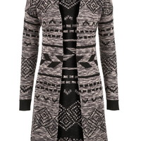 long patterned open front sweater