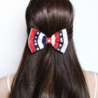 4th of July Bow American Flag Print Bow Flag hair bow red white blue USA bow Patriotic American Flag clip Bow Independence Day Bow