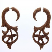 Tribal Shack Women's Hawaiian Koa Wood Fake Gauge Earrings Tropical Plumeria Flower T316L Stainless Steel