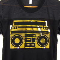 Boom Box - Crew Neck Rolled Cuffs Athletic Contrast Colorblock Tee in Black & Shiny Metallic Gold  Foil - Women's M L XL 2XL