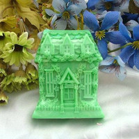 Soap Mold,Cake Molds Castle House Villa Christmas Gift Silicone Mold, For Soap, Candy,Cake, Ice,Craft