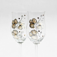 Orchids Wine Glasses Hand Painted set of 2 Cream Gold Silver Light Topaz Swarovski Cristals Vintage Look