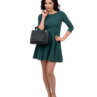 Hunter Green Three-Quarter Sleeve Skater Flare Dress