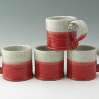 Stoneware Small Hot Cocoa Mug 12 Ounce for Hot Chocolate or a Meal in a Mug in Seasonal Eggshell and Red, Ready to Ship