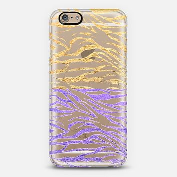 GLITTER GOLD AND PURPLE ZEBRA - CRYSTAL CLEAR PHONE CASE iPhone 6 case by Nika Martinez | Casetify