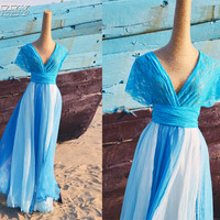 Bridesmaid Silk Chiffon Infinity Wedding Dress - Blue White
