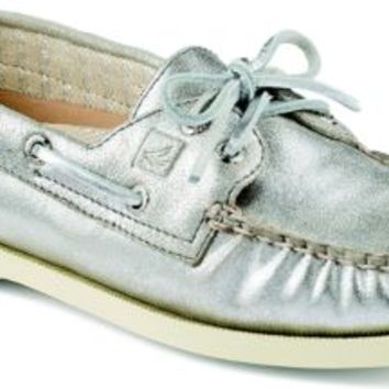 Sperry Top-Sider Authentic Original Metallic 2-Eye Boat Shoe Silver, Size 5M  Women's Shoes
