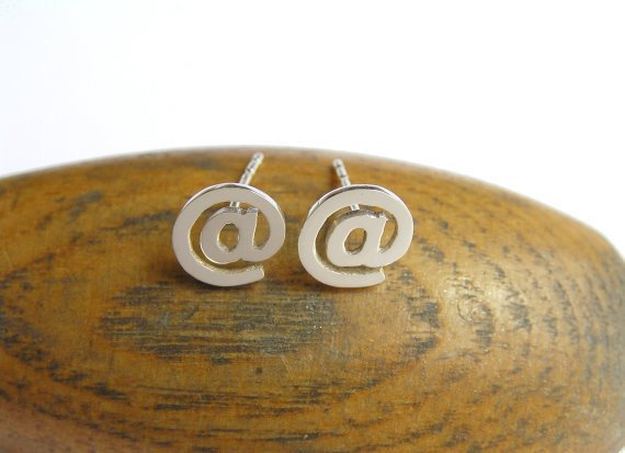 At Sign Earrings - Silver Stud Earrings - Post Earrings - Hand Cut Sterling Silver