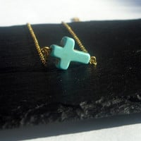 Sideways Cross Necklace - Turquoise sideways cross necklace