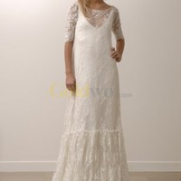 [US$398.00] Lily Allen's Simple Elegant Ivory Lace Wedding Dress