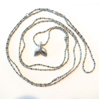 Super Long Silver Necklace Whale Tail Fluke 48 Inch