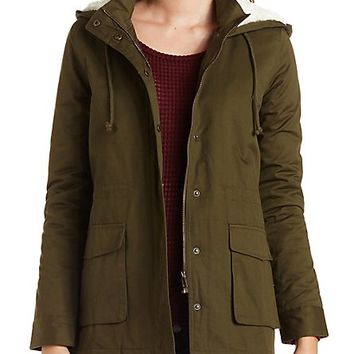 Hooded Long Line Anorak Coat by Charlotte Russe - Olive