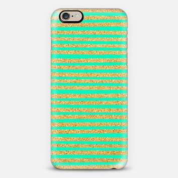 Golden Stripes & Mint iPhone 6 case by Sandra Arduini | Casetify