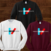 Twenty One Pilots Sweater Black Maroon and White Sweatshirt Crewneck Men or Women Unisex Size