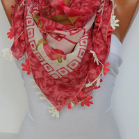 Anatolian Yemeni Shawl Scarf - Oya - Yemeni - Cowl Headband Necklace - Floral-Multicolor - Crochet edge- New