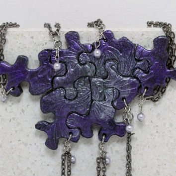 Friendship Puzzle Pieces 7 Necklaces Black Purple and Pearl  Polymer Clay BFF necklace